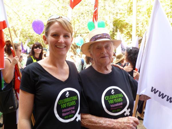 Image of Kristin with friend and colleague Margaret Jones at an International Women's Daydemonstration.