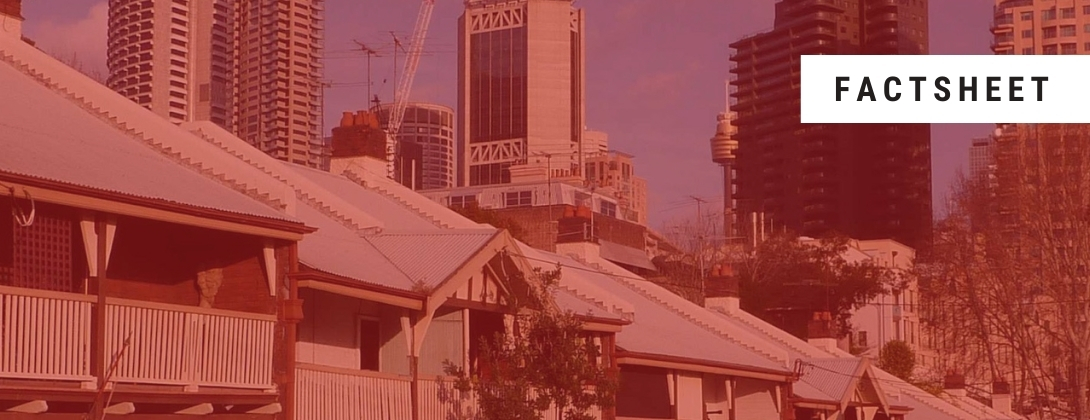 Red tinted photo of a row of houses with the word 'factsheet' displayed in top right corner